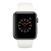 Apple Watch Series 3, 42MM, GPS + Cellular, Space Gray Aluminum Case, Soft White Sport Band (Manufacturer Refurbished)