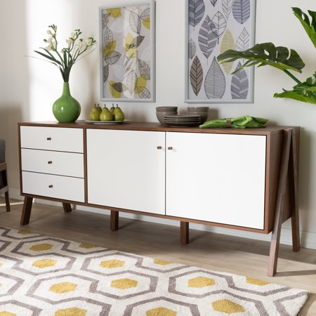 Willow White and Walnut Sideboard by Bellamy Studios