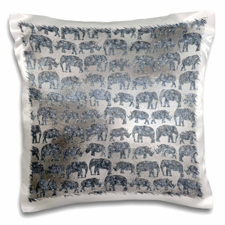 3dRose Luxury Silver Shiny Chic Animal Elephant Africa Safari Pattern - Pillow Case, 16 by (Silver Safari Collection)