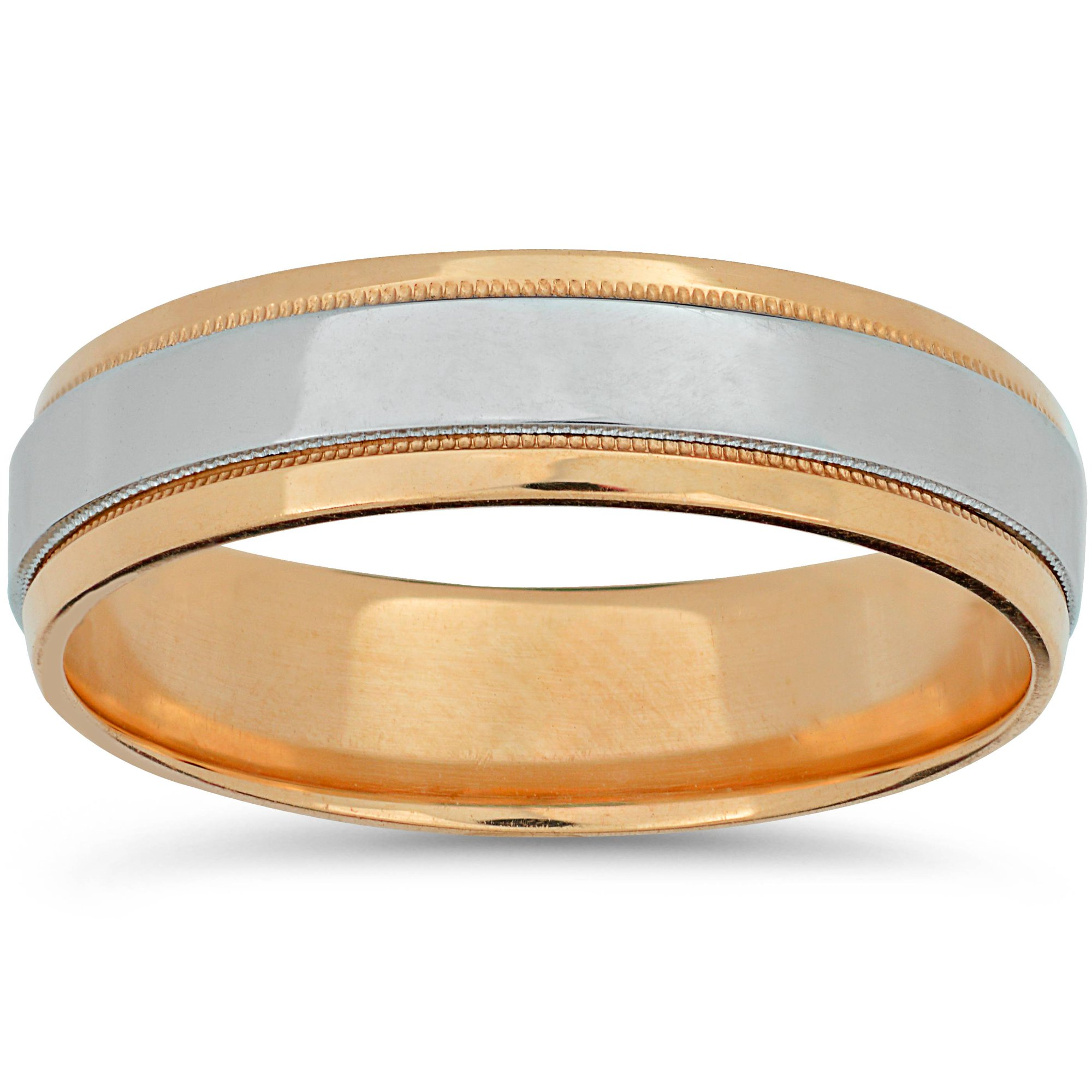 f76717e3ff1e1 Platinum & Rose Gold Two Tone Wedding Band Mens 14k High Polished ...