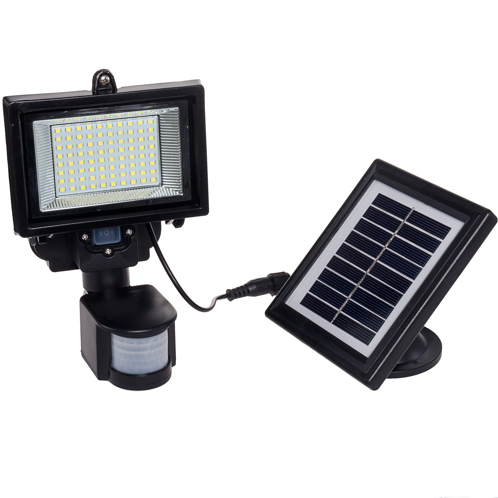 GREENLIGHTING Black 80 LED Solar Powered PIR Motion Sensor Security Flood Light