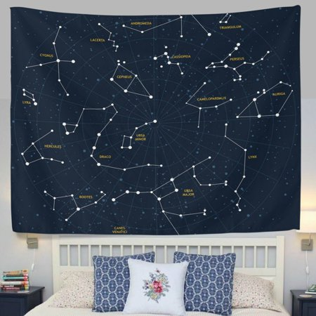 POPCreation 12 Constellation Universe Galaxy Space Stars Fabric Tapestry Throw Dorm bedroom Art Home Decor Tapestry Wall Hanging 40x60 (60's Decor)