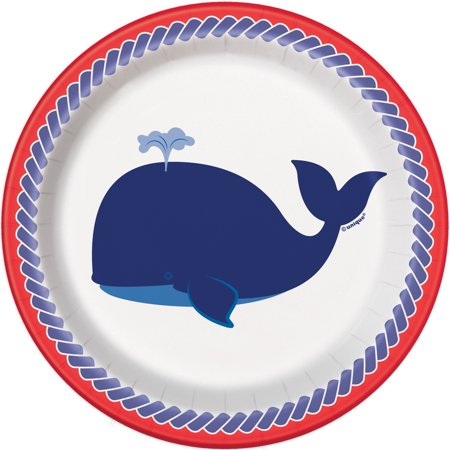 Nautical Whale Paper Dessert Plates, 7 in, 8ct (Whale Paper Plates)