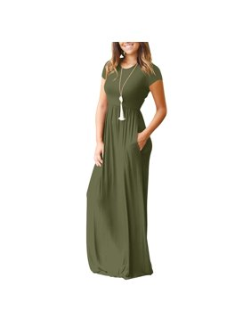 Womens dresses jumpsuits walmart women short sleeve maxi dress with pockets plain loose swing casual floor length pure color long mightylinksfo
