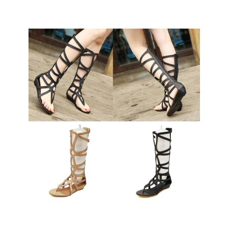 Meigar Women Knee High Boots Sexy Strappy Open Toe Zipper Gladiator Sandals Flat Shoes