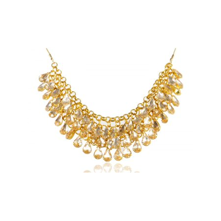 Adj Metal (Golden Metal Tone Two Layer Crystal Rhinestone Chunky Pendant Adj Necklace )