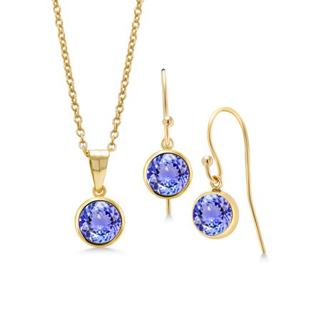 2.70 Ct Round Blue Tanzanite 14K Gold Filled Pendant Earrings Set With