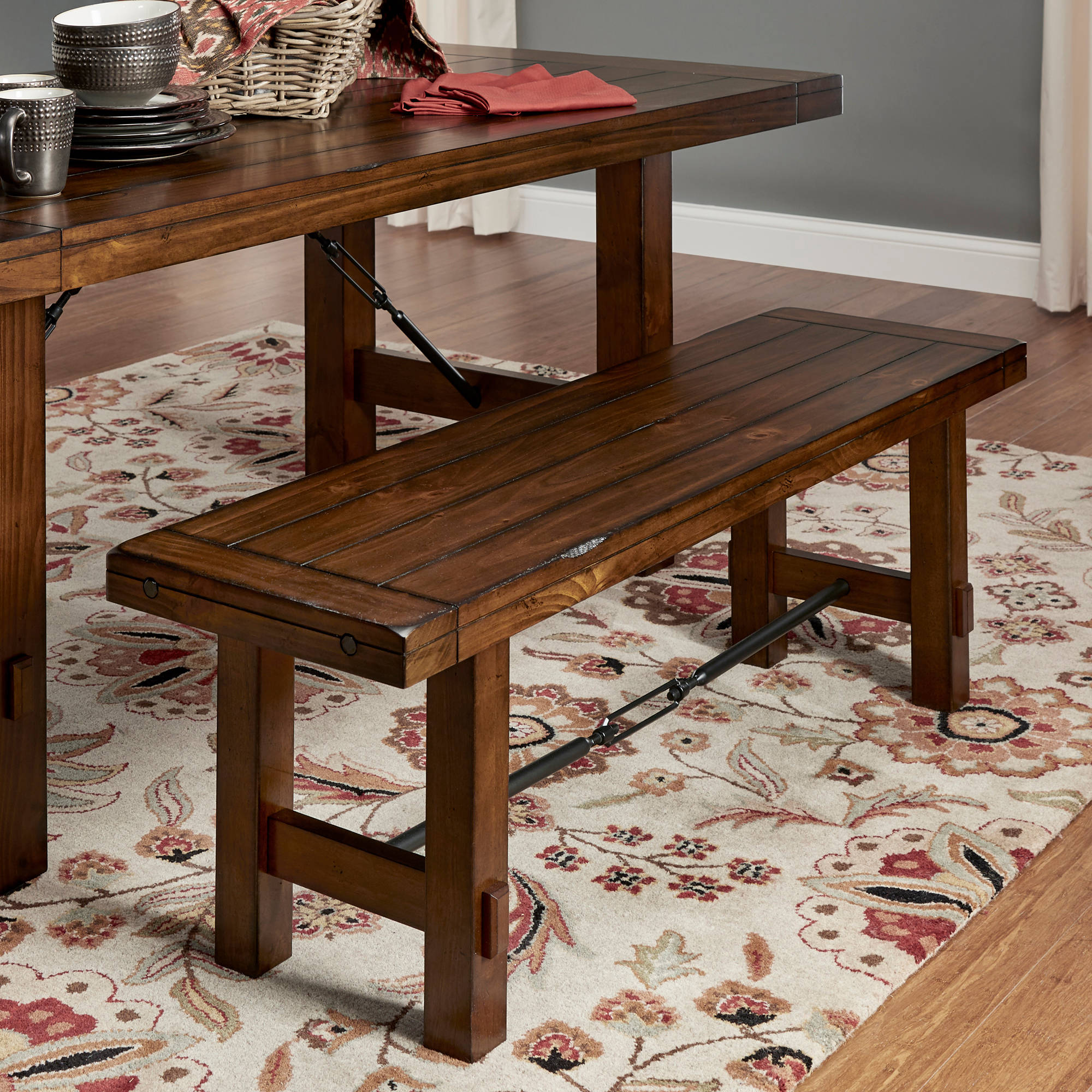 Weston Home Clayton Metal Stretcher Dining Bench, Rustic Oak