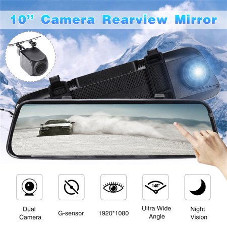10'' Touch Screen 1080P Dual Camera Rearview Mirror Recorder Car DVR Camcorde - image 10 of 10