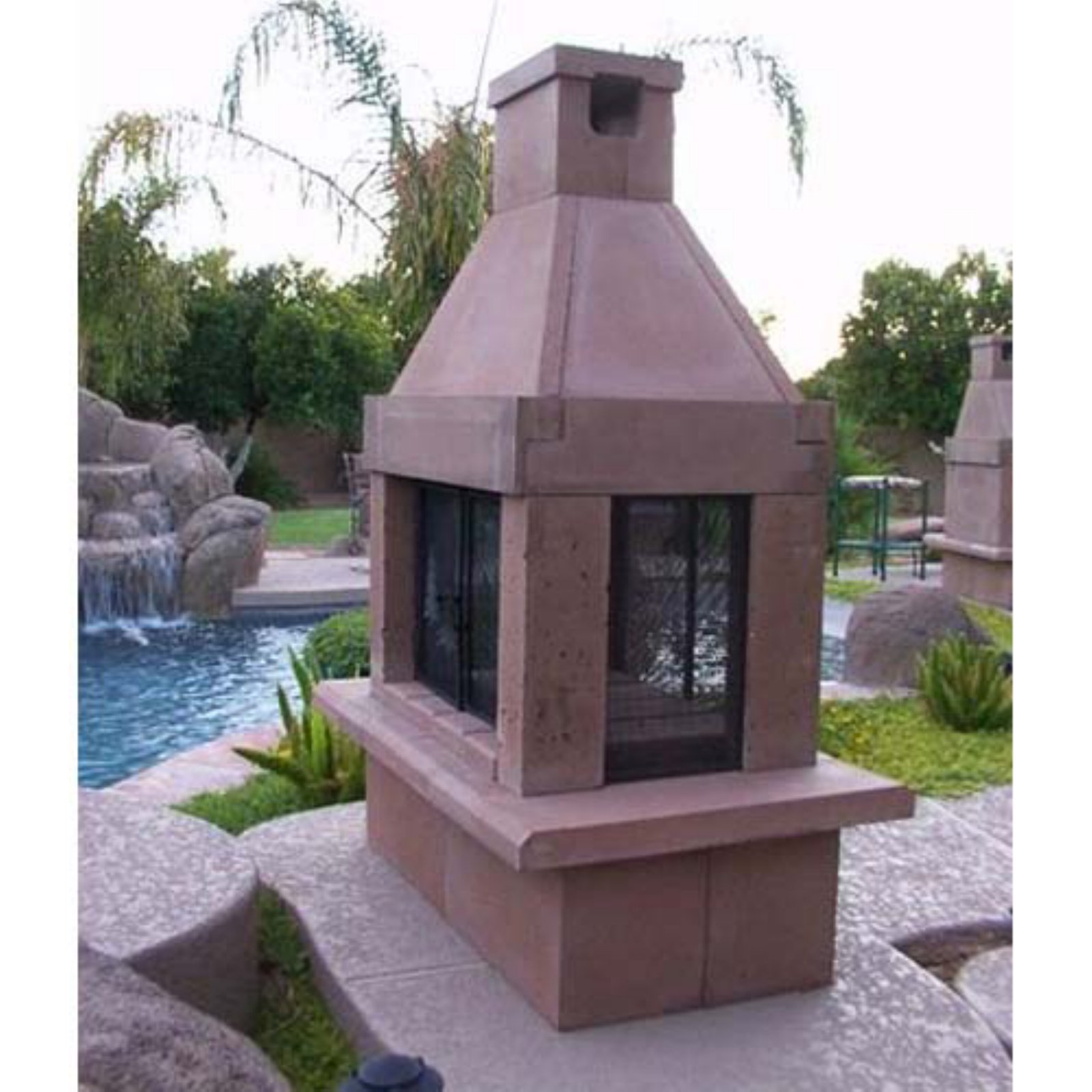 Mirage Stone See Through Wood Burning Outdoor Fireplace