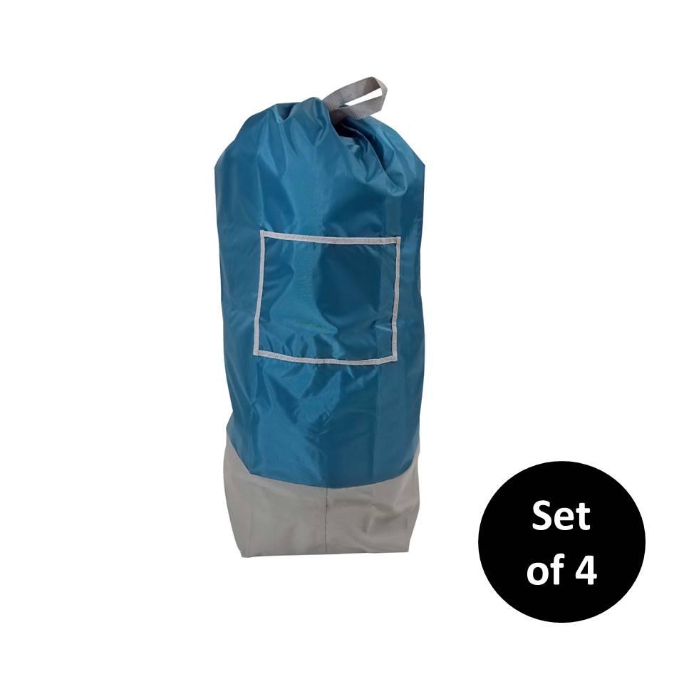 Homz Oversized Laundry Bag with Shoulder Strap, Royal Blue, Set of 4