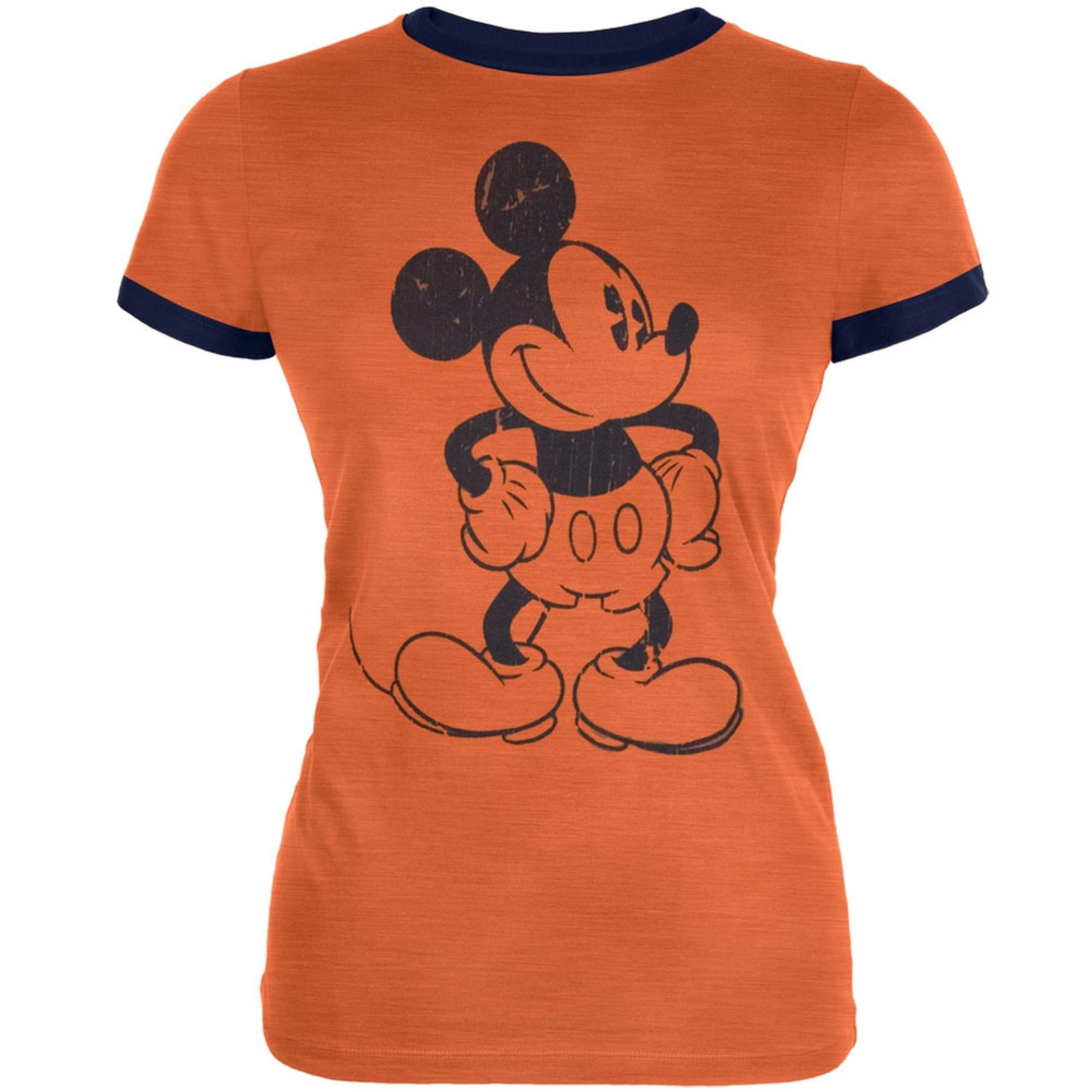Mickey Mouse - Standing Distressed Juniors Ringer T-shirt