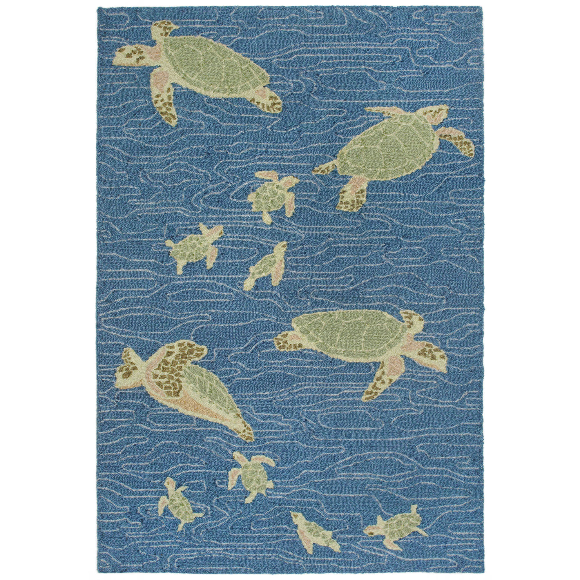 "Liora Manne Lalunita Seaturtles Indoor Rug Blue 42""X66"""