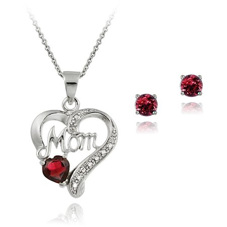 "1.5 Carat T.G.W. Sterling Silver Created Ruby and Diamond Accent ""MOM"" Heart Necklace and Earrings Set"
