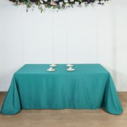 "Efavormart 90x156"" Polyester Rectangle Tablecloths for Kitchen Dining Catering Wedding Birthday Party Decorations Events"