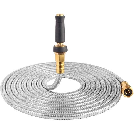 Image of 25' 304 Stainless Steel Garden Hose, Lightweight Metal Hose with Free Nozzle, Guaranteed Flexible and Kink Free