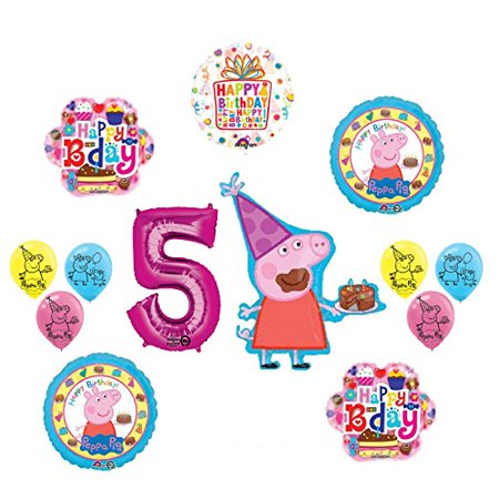 Peppa Pig 5th Birthday Party Balloon supplies and decorations kit - Peppa Pig Birthday Balloons