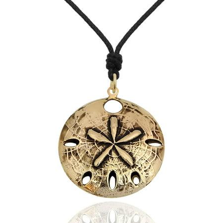 Sand Dollar Ocean Handmade Brass Necklace Pendant Jewelry With Cotton Cord Sand Dollar Pendant Jewelry