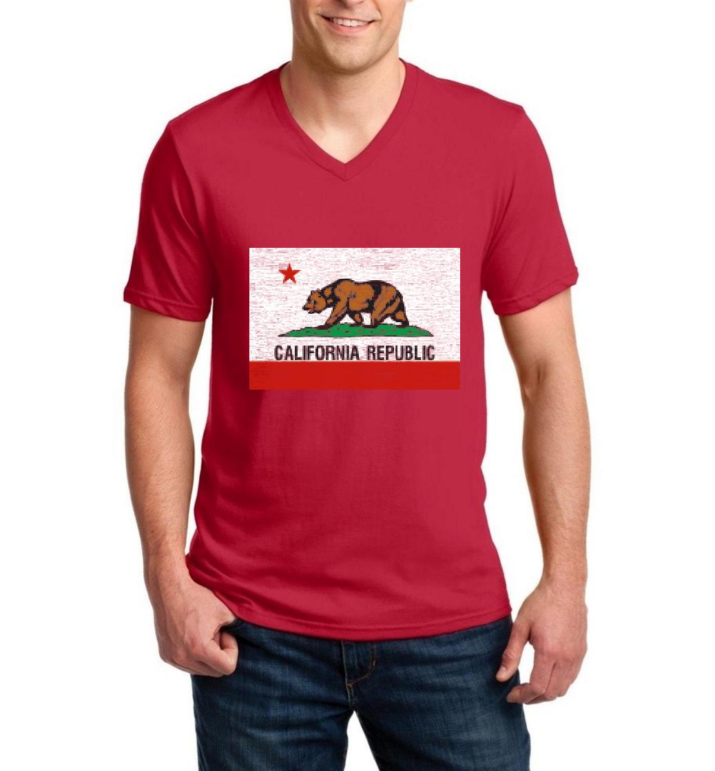 J_H_I California Republic Bear Flag Gift for Hollywood CA USA Flag 4th of July Men V-Neck Shirts Ringspun