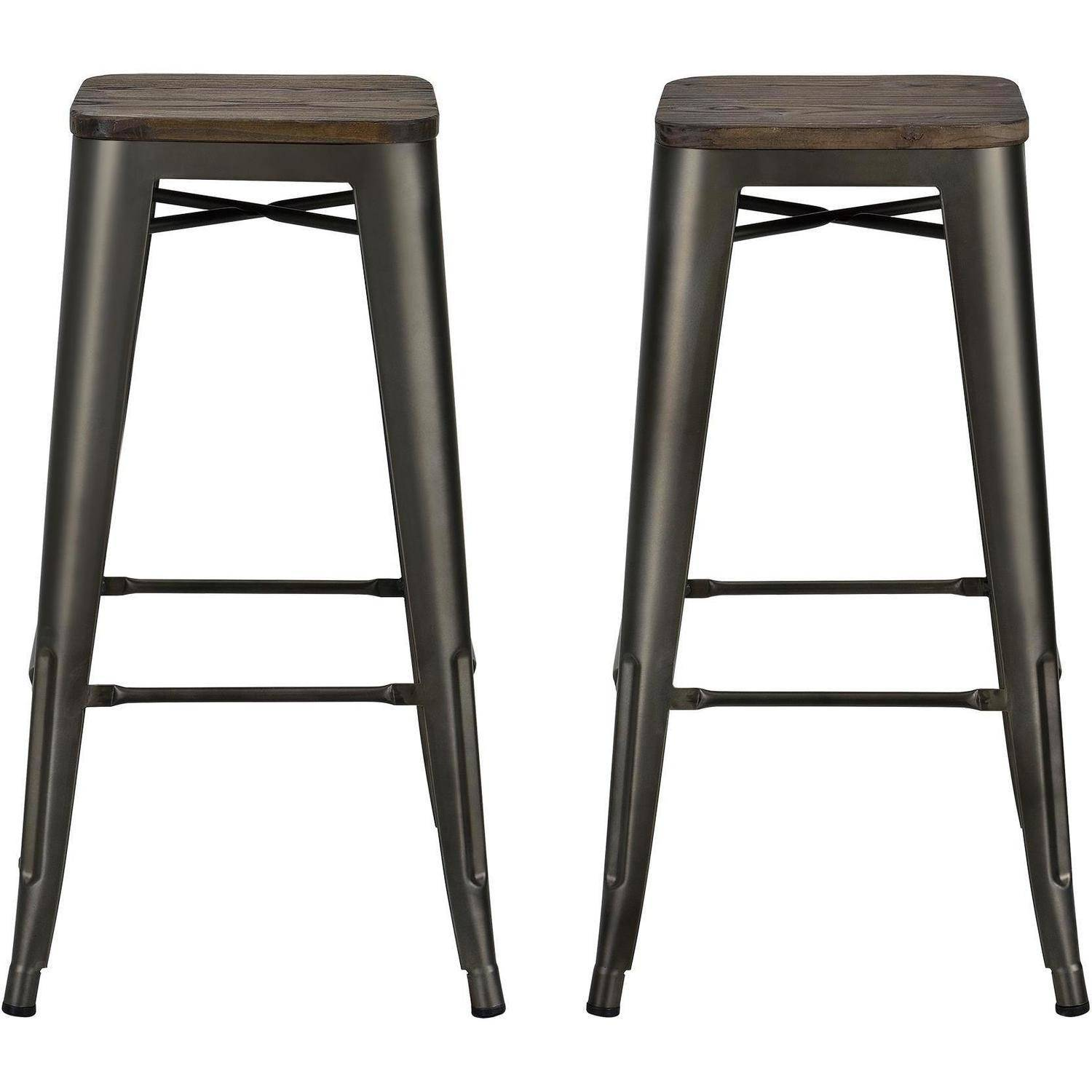 Dhp Fusion 30 Metal Backless Bar Stool With Wood Seat Set Of 2 Multiple Colors