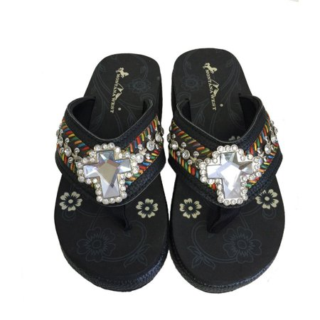 Embroidered Wedge - Montana West Women Flip Flops Wedged Embroidered Sandals Crystal Cross Black