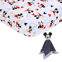 Disney Mickey Mouse Lovey and Infant Crib Sheet Bundle Pack, Multicolor, 1 Lovey, 1 Fitted Crib Sheet, Male