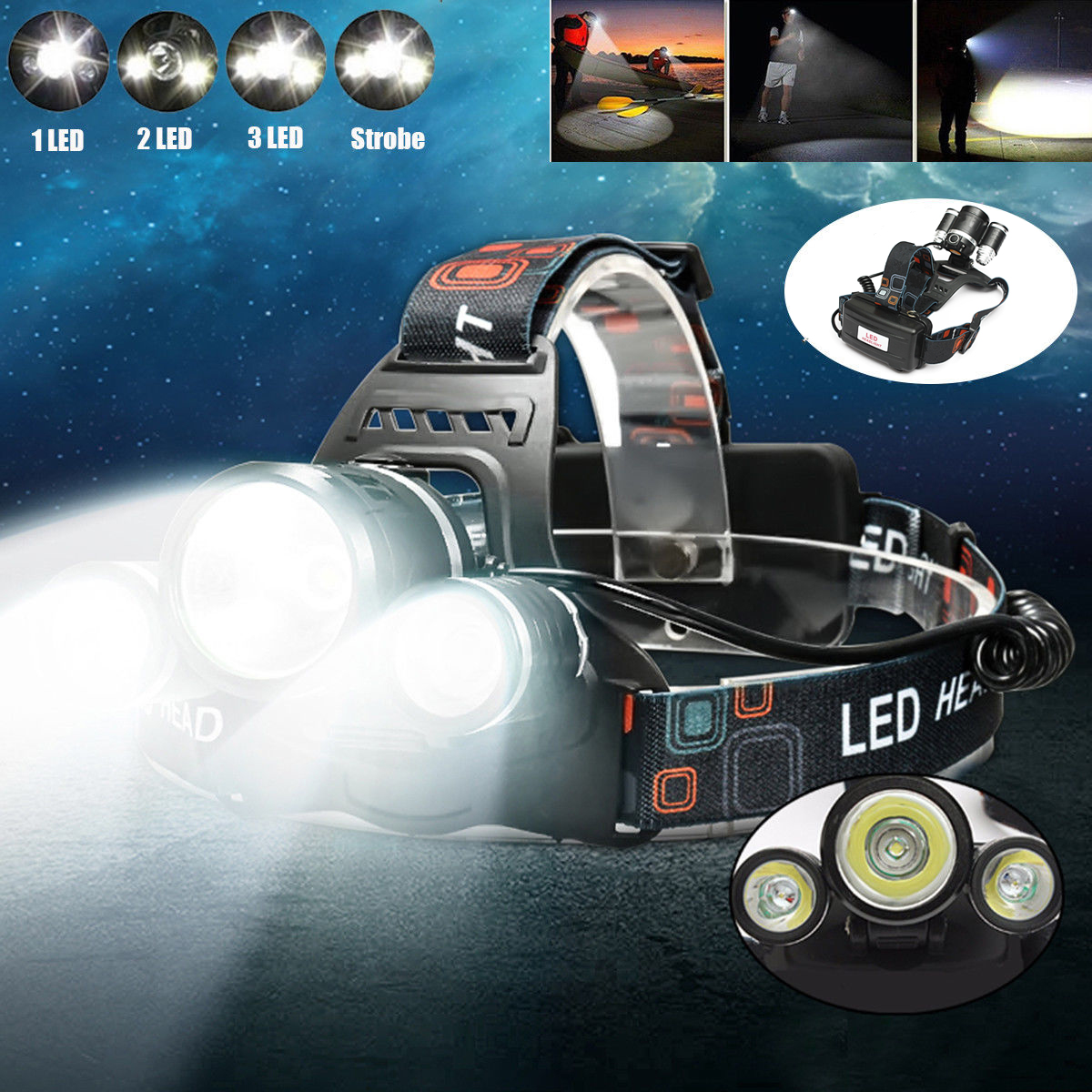 5000 Lumens 3 x T6 LED Rechargeable Headlamp Headlight Flashlight Torch 3Modes For Camping Fishing Outdoor