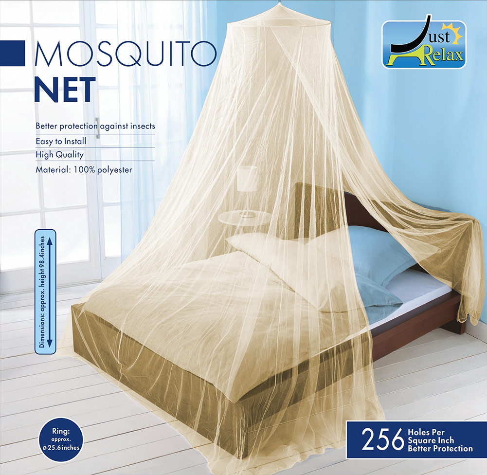 Just Relax Elegant Mosquito Net Bed Canopy Set, Beige, Twin Full