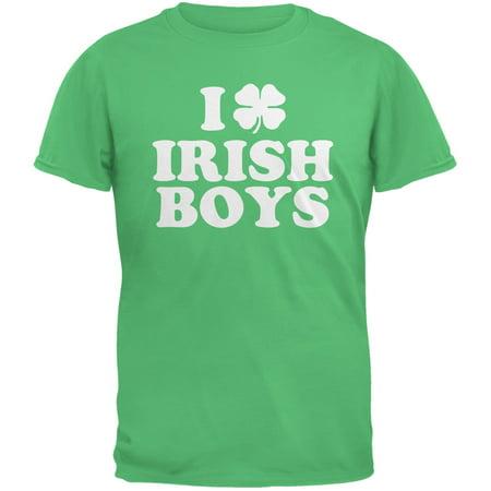 St. Patricks Day - I Shamrock Love Irish Boys Green Adult T-Shirt - Love Irish Boys Green