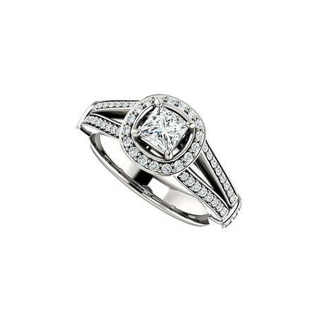 Cubic Zirconia Halo Style Split Shank Ring White Gold - image 2 de 2