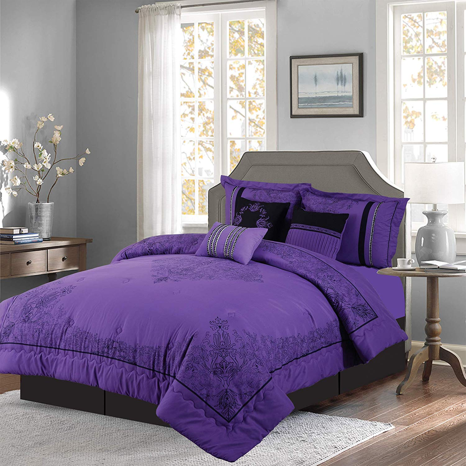 Empire Home Dawn 7 Piece Comforter Set Over Sized Bed In A Bag King Size Purple & Black NEW ARRIVAL 50% SALE