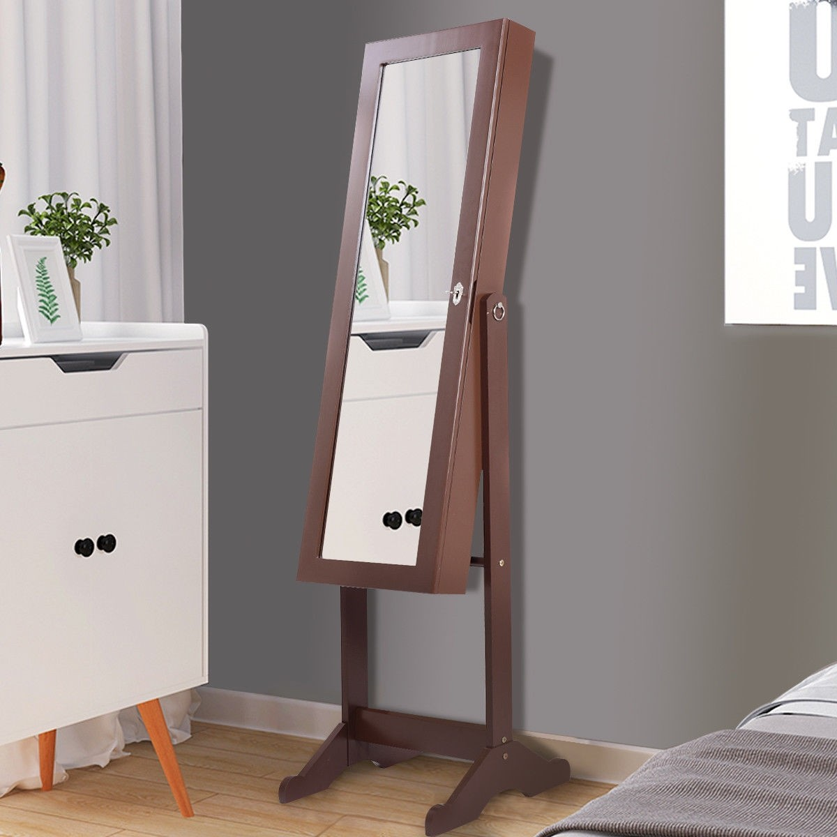 Lockable Armoire Storage Mirrored Jewelry Cabinet w/ LED Light