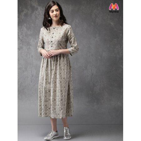 ba0d4c74422 Anouk by Myntra Women Off-White   Grey Printed A-Line Kurta - image ...