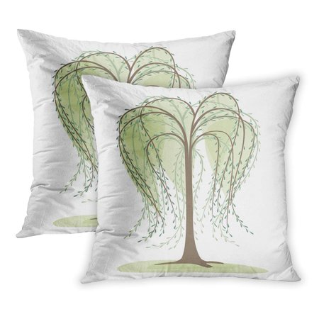 ECCOT Green Abstract Deciduous Tree on Willow Large Leaf Silhouette Trunk Big PillowCase Pillow Cover 16x16 inch Set of 2