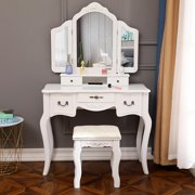 Ktaxon Tri-Folding Mirror Vanity Set 5 Drawers Dressing Table Makeup Desk with Stool,White