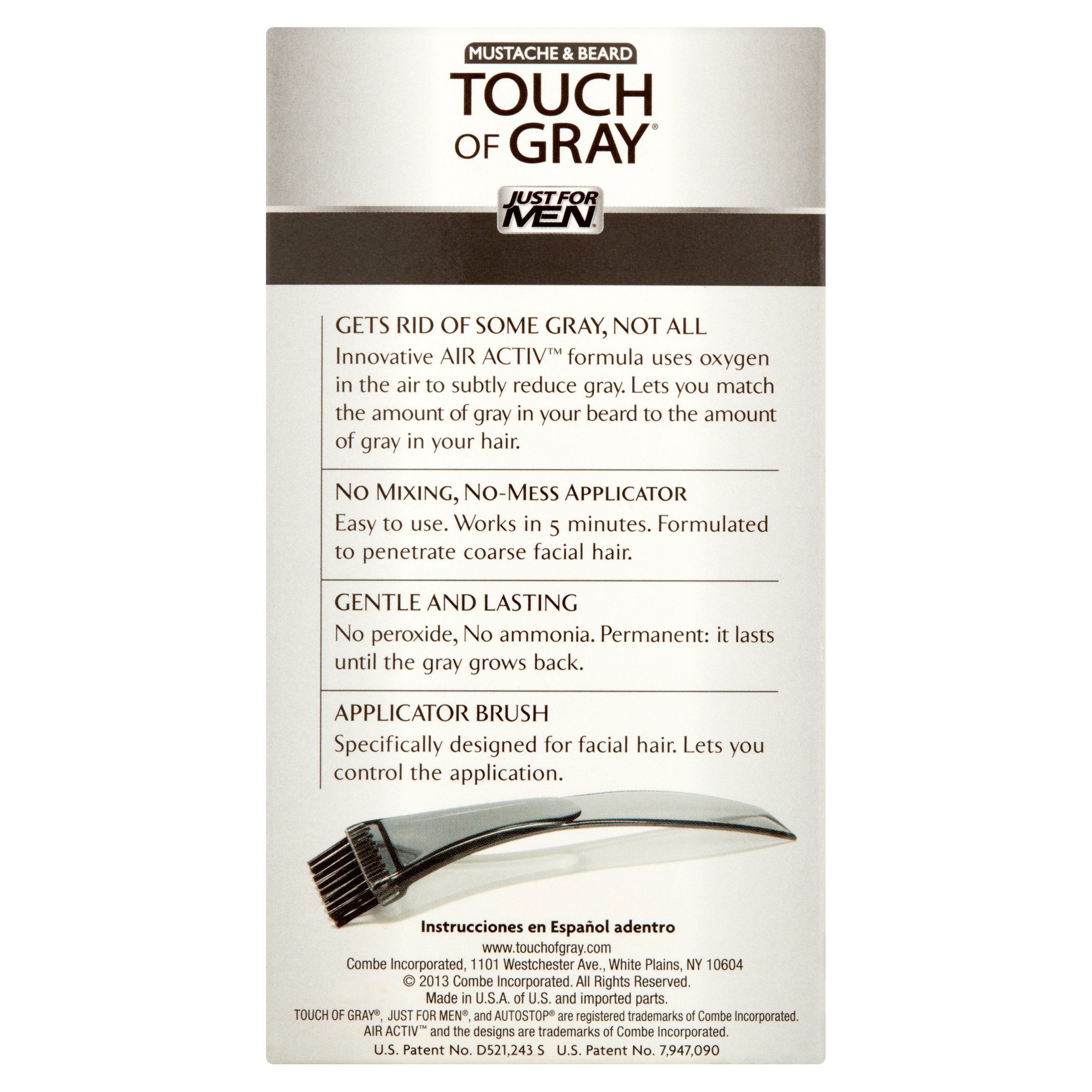 just for men touch of gray mustache u0026 beard b 45 55 dark brown