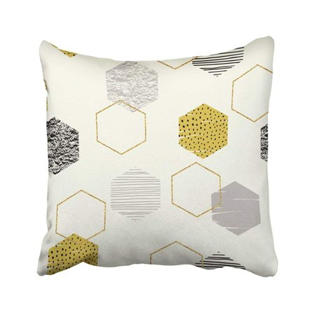 ARTJIA Vintage Abstract Geometric With Hexagons And Glitter Trendy Modern For Interior And Other Pillowcase Pillow Cover 18x18 inches