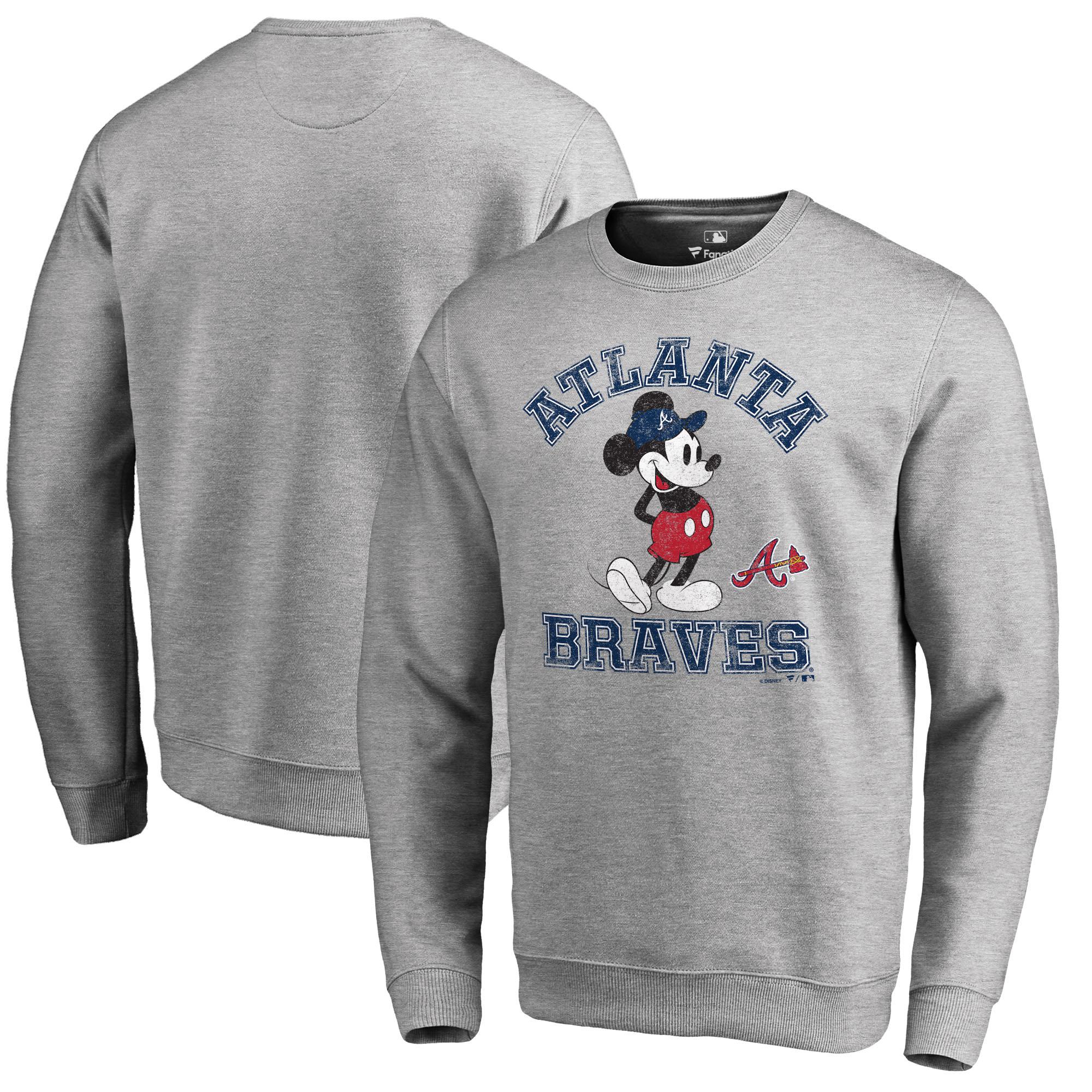 Atlanta Braves Fanatics Branded Disney MLB Tradition Pullover Sweatshirt - Heathered Gray