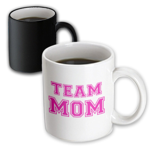 3dRose Team Mom  -  hot pink girly retro sporty or college sports font  -  gifts for moms good for mothers day, Magic Transforming Mug, 11oz