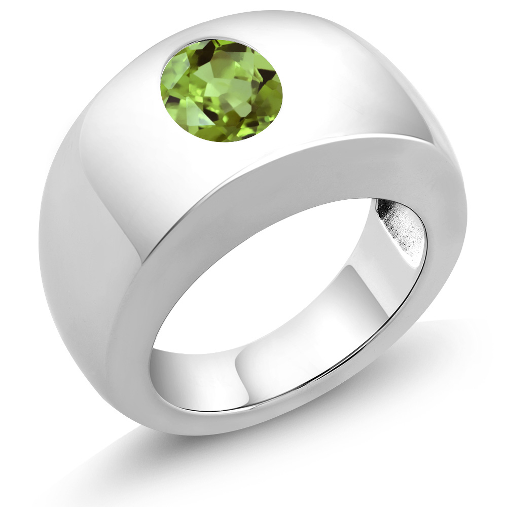1.80 Ct Oval Green VS Peridot 925 Sterling Silver Men's Solitaire Ring by