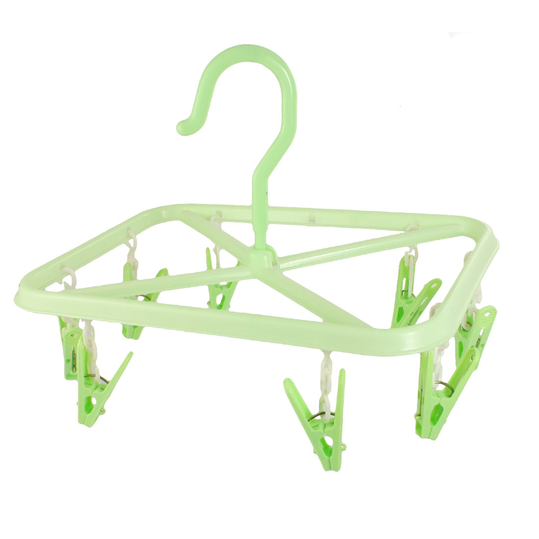 Unique Bargains Rectangle Frame Light Green 8 Pegs Plastic Clothes Hanger + Hook