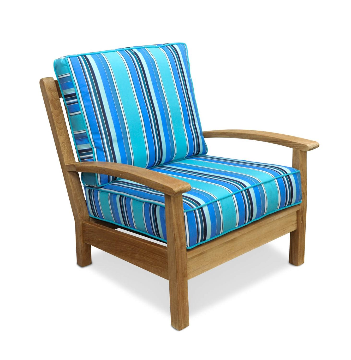"34"" Natural Teak Deep Seating Outdoor Patio Lounge Chair with Blue Stripe Cushions"