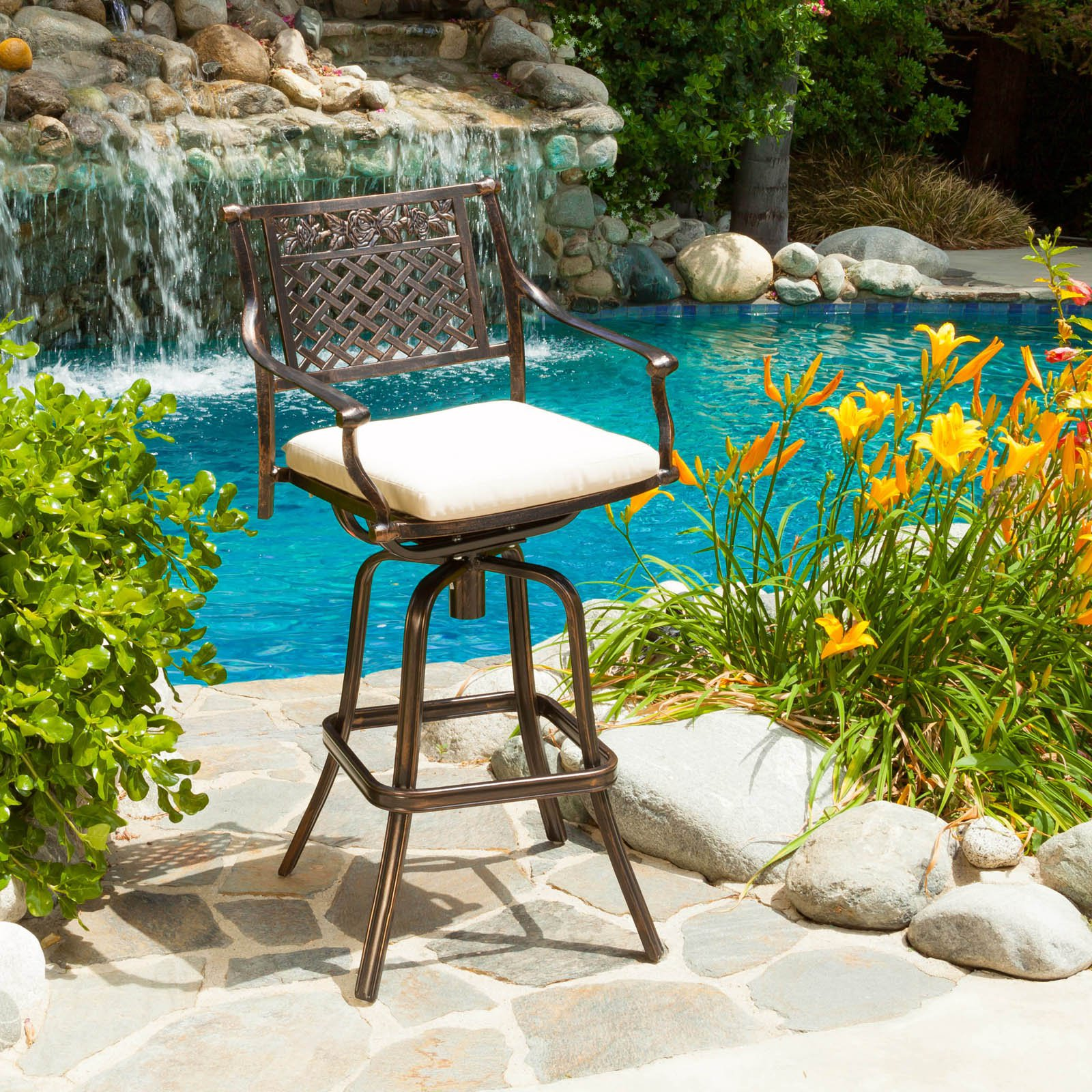 Sebastian Cast Aluminum Barstool with Cushion