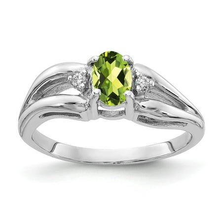 14K White Gold Ring Band Gemstone Diamond Round Peridot Oval Green, Size 8