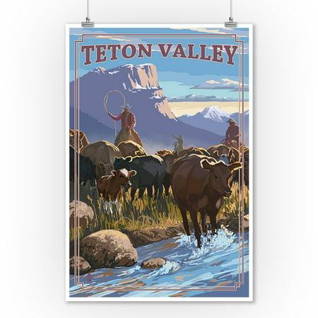 Teton Valley, Idaho - Cowboy Cattle Drive Scene - Lantern Press Poster (9x12 Art Print, Wall Decor Travel Poster) - Casino Cowboy Scene