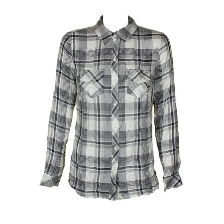 Maison Jules Navy Cloud Combo Long-Sleeve Plaid Flap-Pocket Shirt S