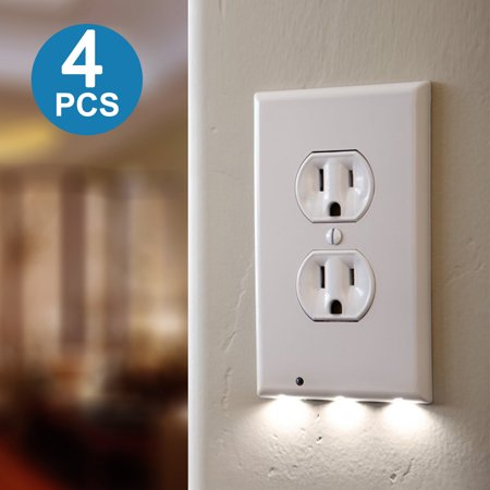Tsv 4pack Led Plug Cover Outlet Wall Plate With Led Night