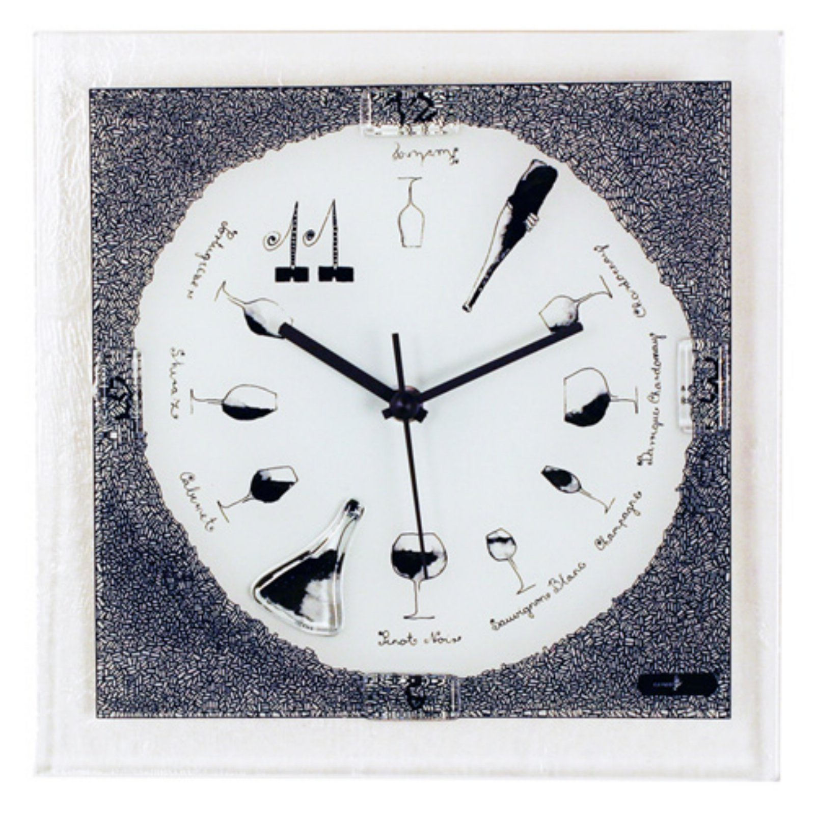 River City Clocks Square Wine Theme Glass Wall Clock - 10...
