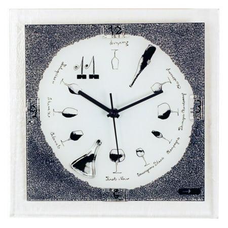 River City Clocks Square Wine Theme Glass Wall Clock - 10.25W x 10.25H in.