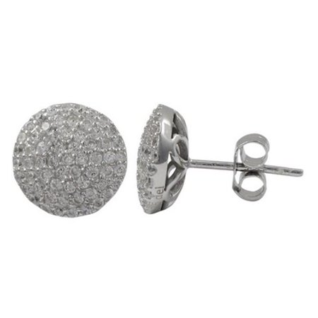 Dlux Jewels Rhodium Plated Sterling Silver White Cubic Zirconia 10 mm Round Post Stud Earrings - image 1 de 1